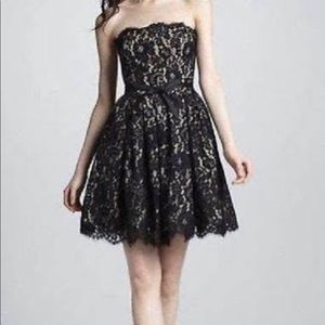 ROBERT RODRIGUEZ Strapless Dress Black Lace W/Bra